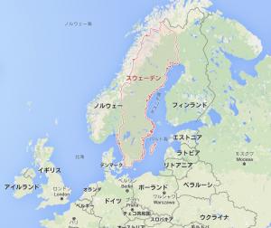 スェーデンの地図